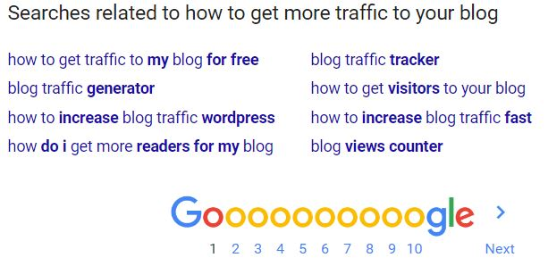 Find keywords with Google's related searches feature.