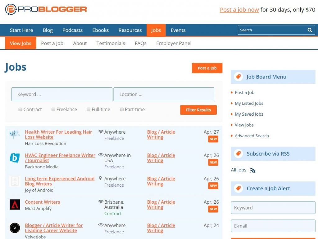 Find writers on ProBlogger's job board