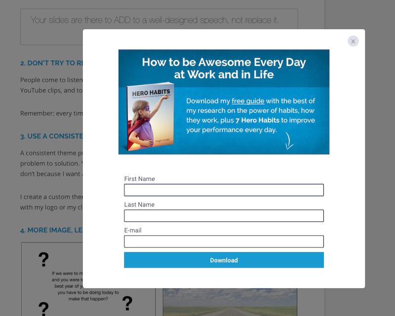 popups work as a call to action