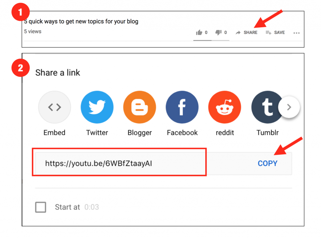 screenshot showing how to add youtube videos to your blog